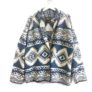 Vintager tribal pattern  wool blanket cardigan, L
